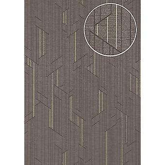Graphic wallpaper ATLAS XPL-565-5 non-woven wallpaper structures with geometric forms shimmering Platinum anthracite grey gold 5.33 m2