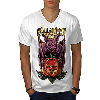 Halloween Männer WhiteV-Neck T-shirt   Wellcoda