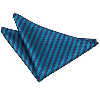 Navy Blue & Teal Thin Stripe Pocket Square