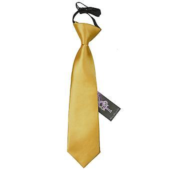 Gold Plain Satin Elasticated Tie for Boys
