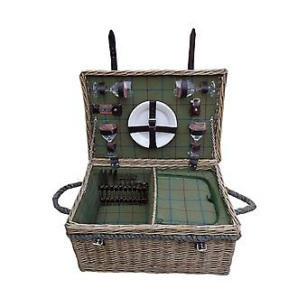 Lancaster Green Tweed Fitted Picnic Basket