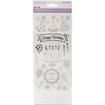 Multicraft Clear Foil Stickers-Happy Birthday Silver