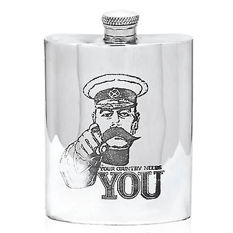 Lord Kitchener - Your Country Needs You Pewter Hip Flask - 6oz