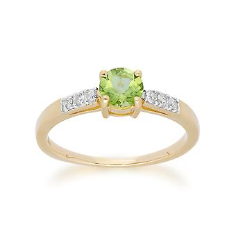 Gemondo 9ct Yellow Gold Peridot & Diamond runt skär Ring