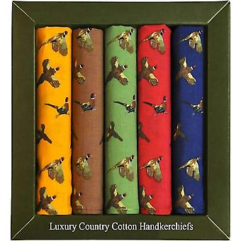 David Van Hagen Country Pheasant 5 Pack Handkerchiefs - Multi-colour
