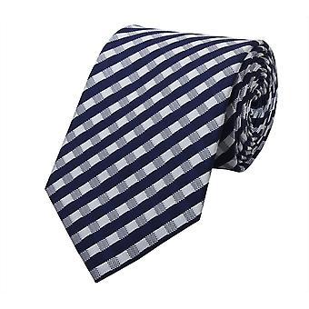 Schlips Krawatte Krawatten Binder 8cm blau weiß kariert Fabio Farini