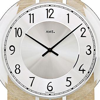 AMS 7420 wall clock quartz with pendulum oval wooden Sonoma design with aluminum and glass