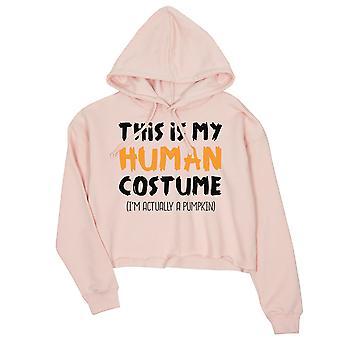 This Is My Human Costume Womens Pink Crop Hoodie