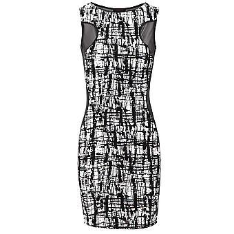 New Ladies Sleeveless Mesh Insert Flock Pattern Women's Bodycon Dress