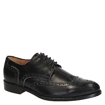 Ala brogues completo zapatos de cuero de hombres negro hechos a mano