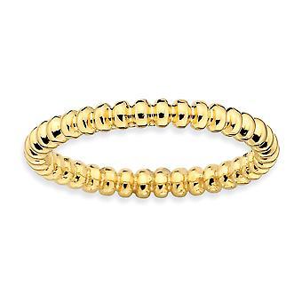 Sterling Zilver gepolijst gedessineerde stapelbare expressies goud-flitste Beaded Ring - Ringmaat: 5 tot 10