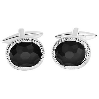 David Van Hagen Shiny Oval Textured Edge Faceted Onyx Centre Cufflinks - Black/Silver
