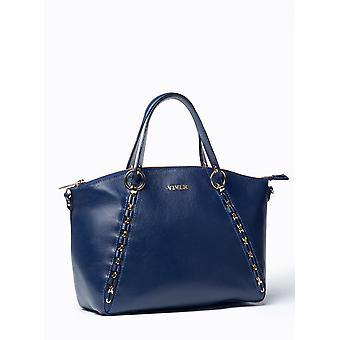 VIVER Etude Navy Leather Handbag