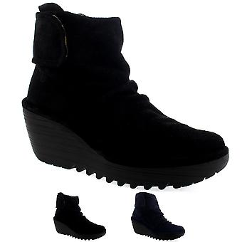 Womens Fly London Yegi Wedge Heel Suede Velcro Casual Winter Ankle Boots