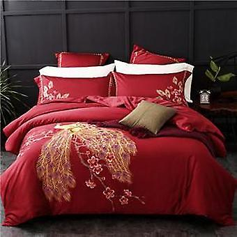 1000 tc-peacock embroidered egyptian cotton  bed sheet pillowcases quilt cover set