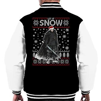Let It Jon Snow Game Of Thrones Christmas Knit Men's Varsity Jacket