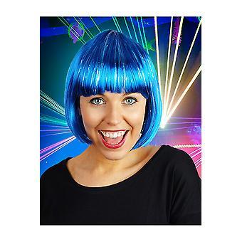 Pelucas peluca de bob azul con brillo
