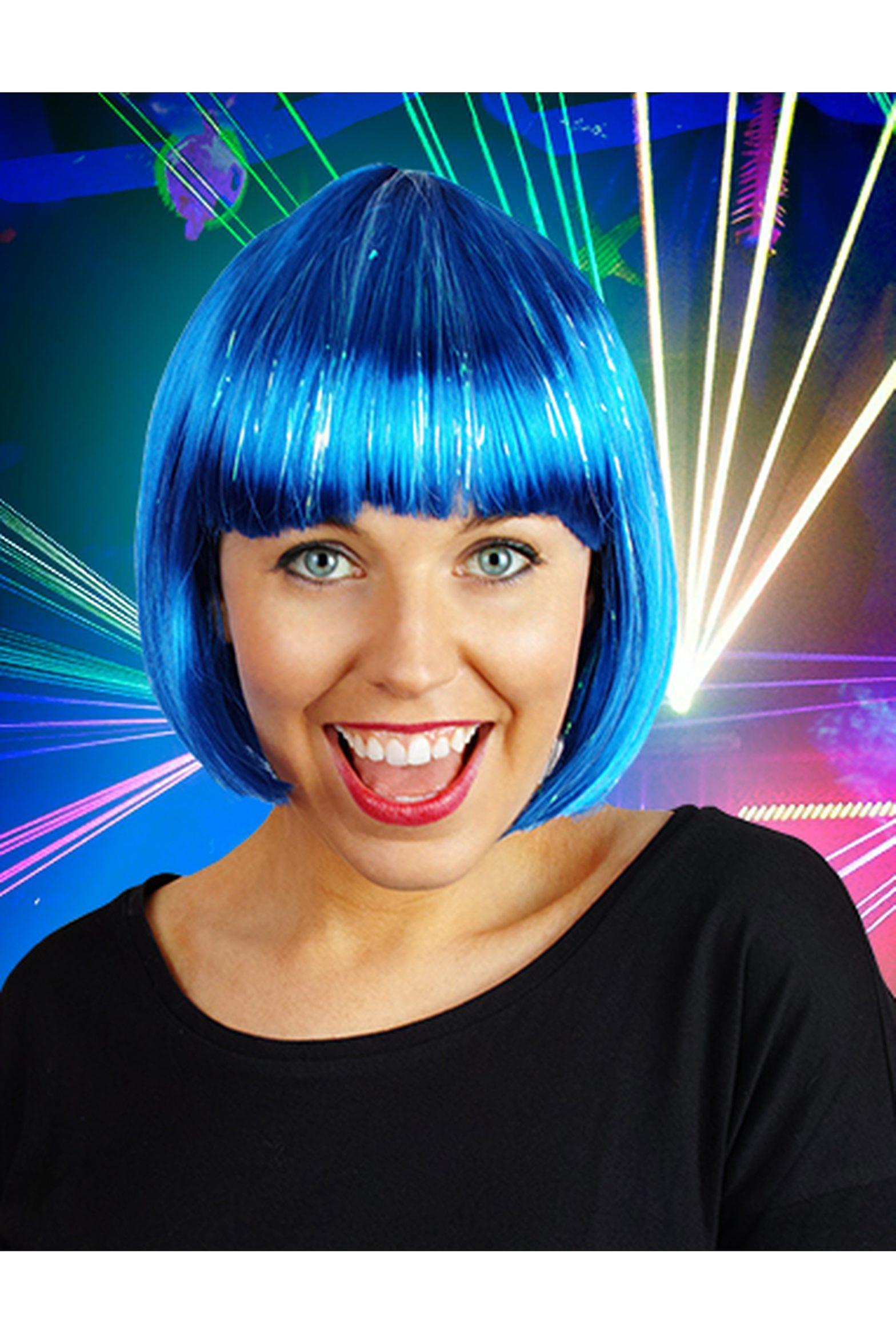 Blaue Perücke Perücken mit Glitzer