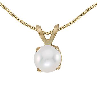 10k Yellow Gold Freshwater Cultured Pearl Pendant with 16