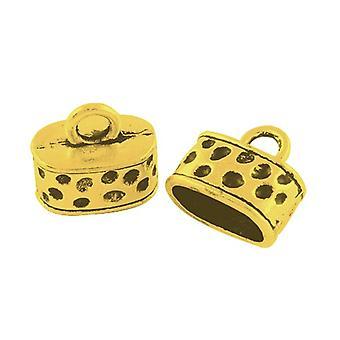 Packet 6 x Antique Gold Tibetan Oval End Caps 13 x 15mm HA12120