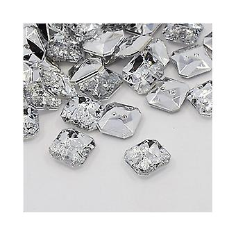 Packet 20 x Clear Acrylic 11mm Faceted Square 2-Holed Sew On Buttons Y07440