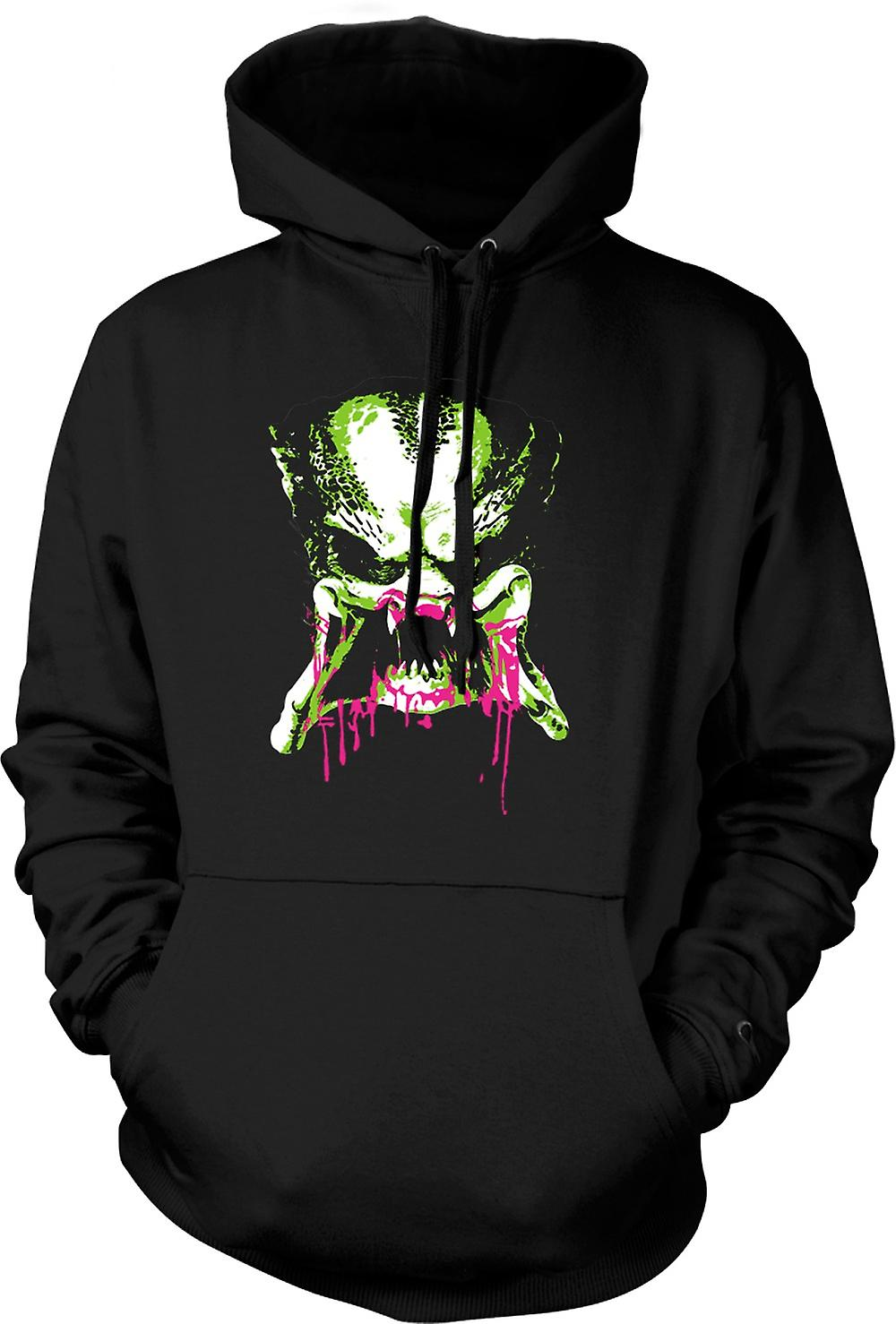 Mens Hoodie - Predator Alien - Pop Art - Face - Movie