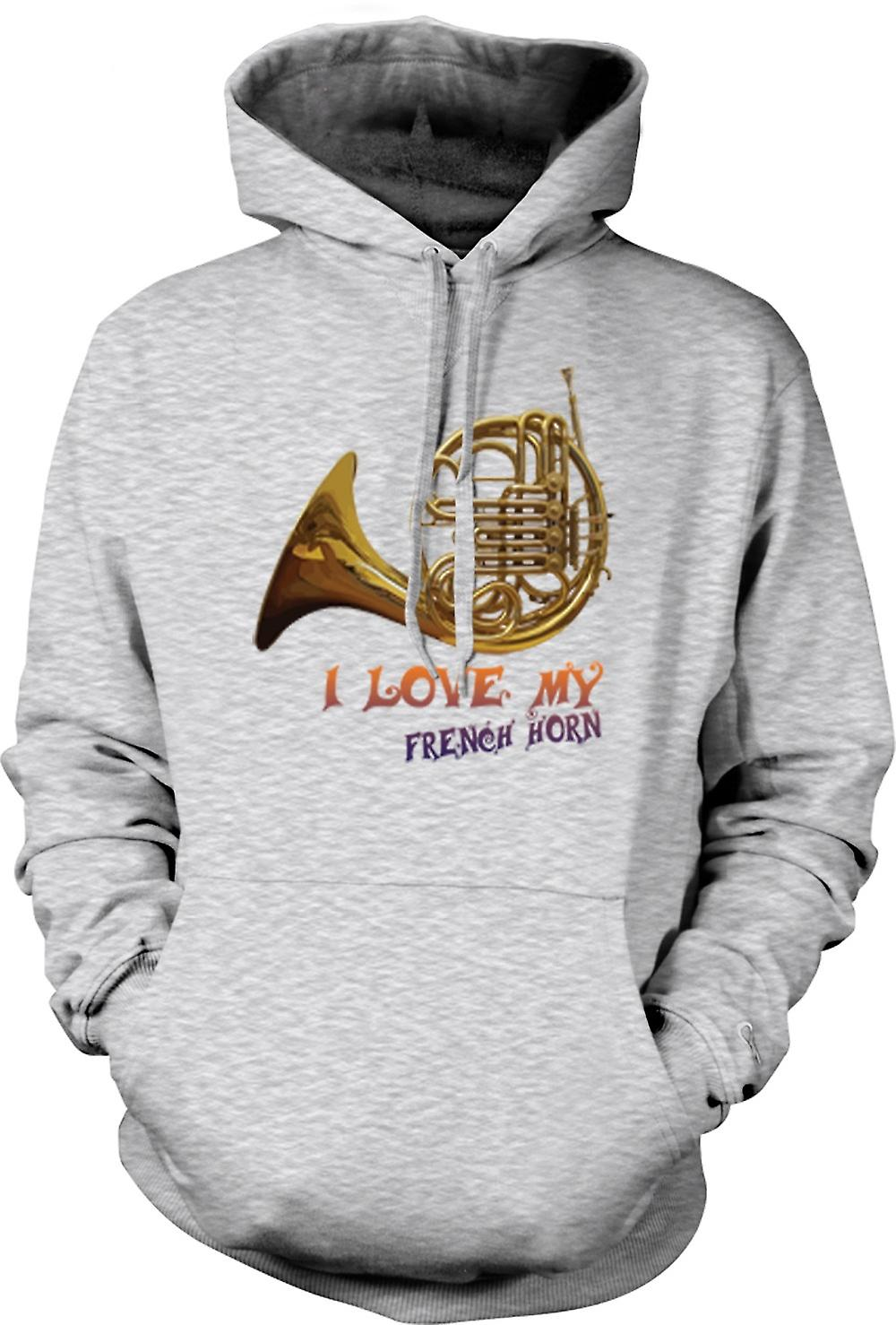 Mens Hoodie - I Love My French Horn