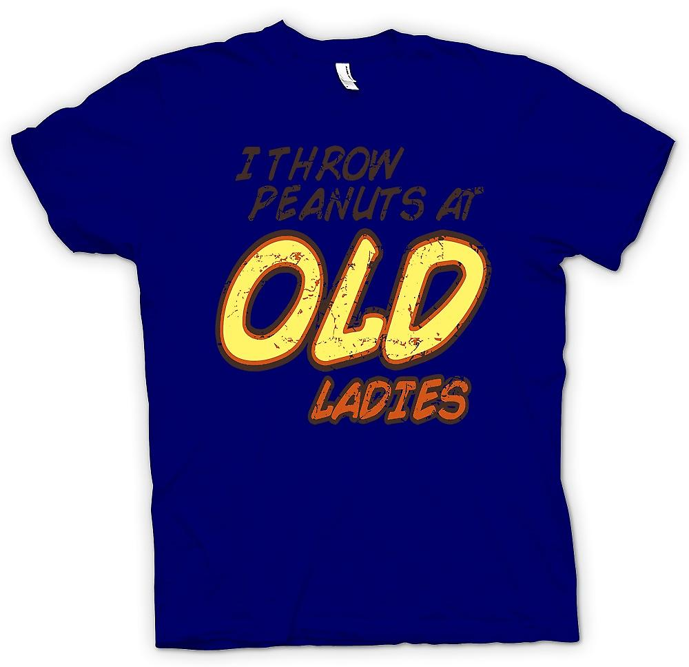 Mens T-shirt - I Throw Peanuts At Old Ladies - Random Funny