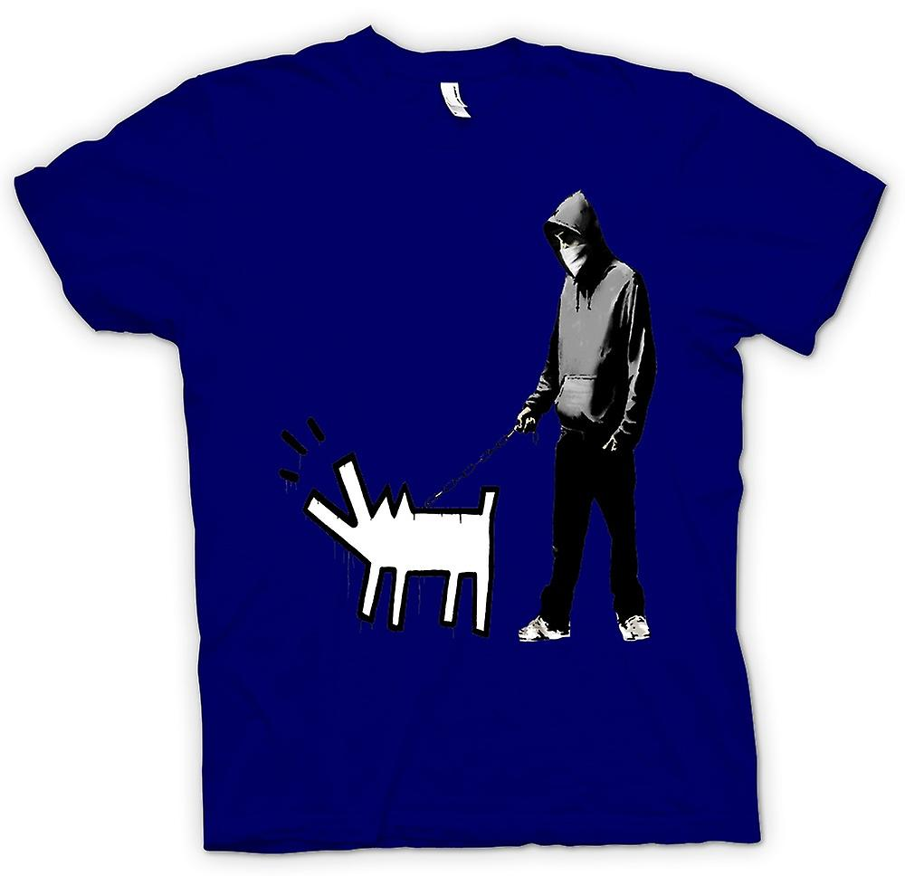 Mens t-skjorte-Banksy Walking hunden