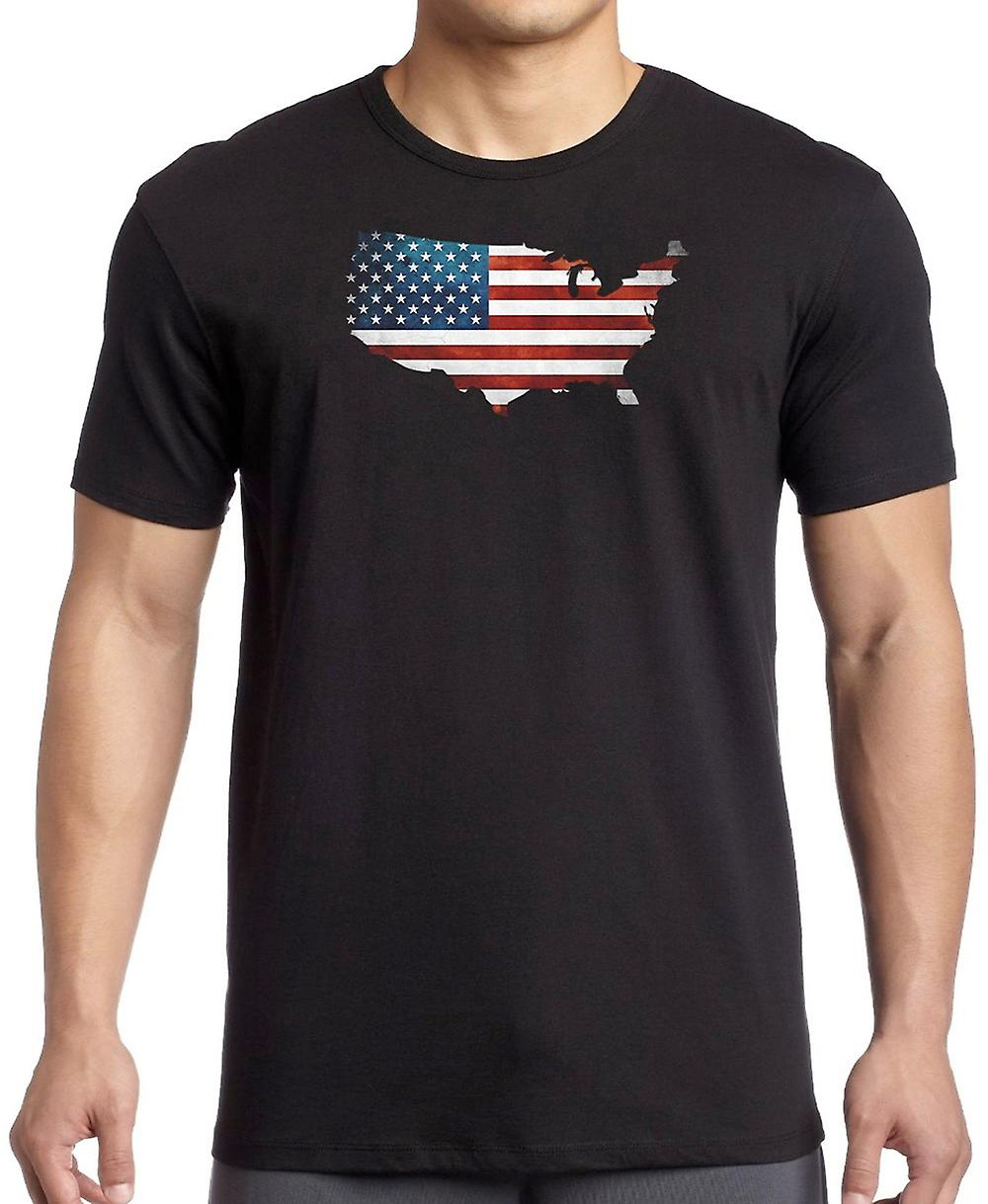 USA American Flag Map -  T Shirt