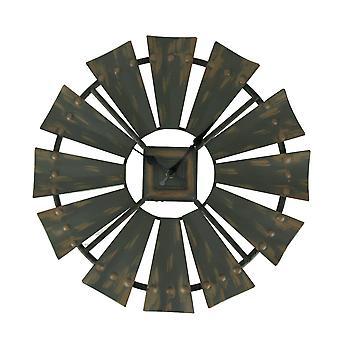 Rustic Vintage Finish Metal Windmill Wall Clock