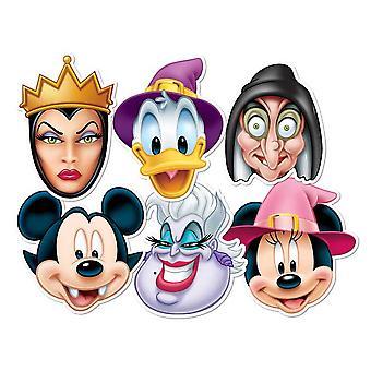 Musse Pigg och vänner Halloween kort ansiktsmasker uppsättning 6 (Musse, Mimmi, Kalle, Ursula, elaka häxan och onda drottningen)