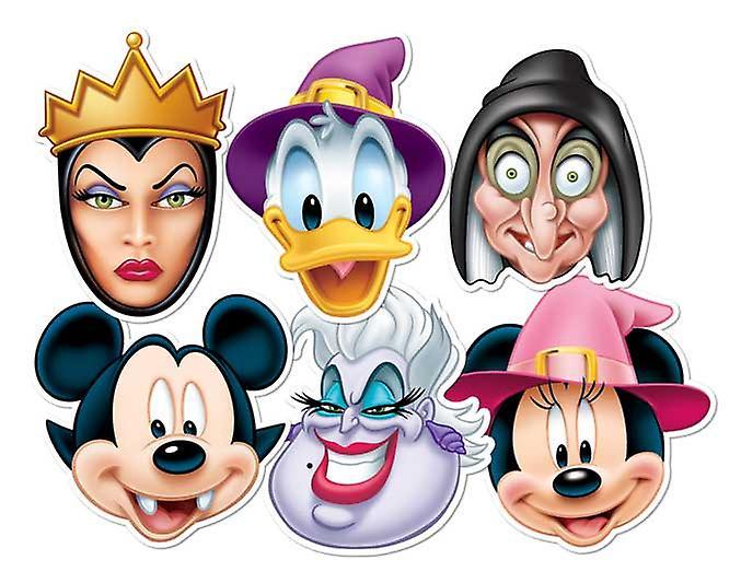 Mickey Mouse y amigos Halloween tarjeta mascarillas Set de 6 (Mickey, Minnie, Donald, Ursula, bruja y malvada reina)