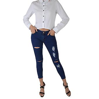 Lovemystyle Navy Blue Skinny Jeans With Distressed Rips - SAMPLE