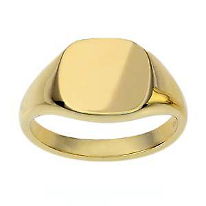 9ct Gold 13x13mm solid cushion Signet Ring Size R