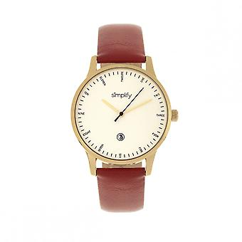 Simplify The 4300 Leather-Band Watch w/Date - Gold/Dark Brown