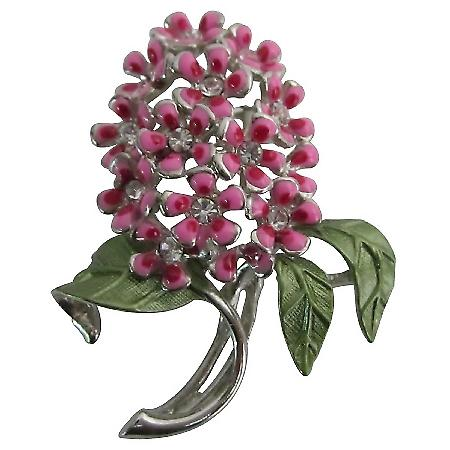 Shop The Latest Silver Casting Vintage Pink Flower Green Leaves Brooch