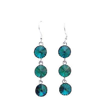 Emerald Green Swarovski Round Crystal 10mm Dangle Hook Silver Earrings