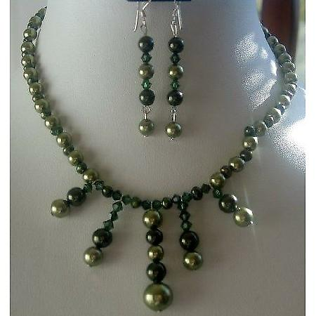 Green FreshWater Pearls & Tahitan Crystals Necklace Set