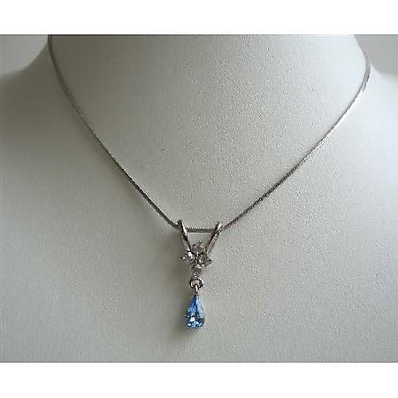 Cute Necklace w/ Blue Cubic Zircon Teardrop Dangling Pendant Necklace