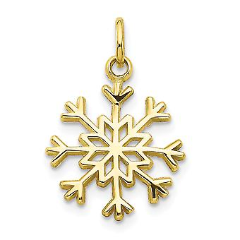 10k Yellow Gold Solid Polished Snowflake Charm - .8 Grams