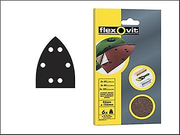 Flexovit Detail Hook & Loop Sanding Sheets 95 x 145mm Fine 120g (6)