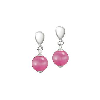 Eternal Collection Melody Fuchsia Cats Eye Silver Tone Drop Clip On Earrings