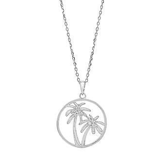 Ah! Jewellery Sterling Silver Open Work Palm Tree Pendant Necklace