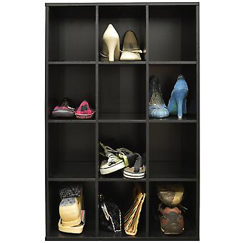 Pigeon Hole - 12 paia di scarpe deposito / foro Cubby Display / supporti mensole - Black
