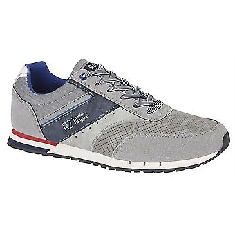 Mens Casual Shoes 6 Eye Lace Up Denim Textile Fashion Trainers