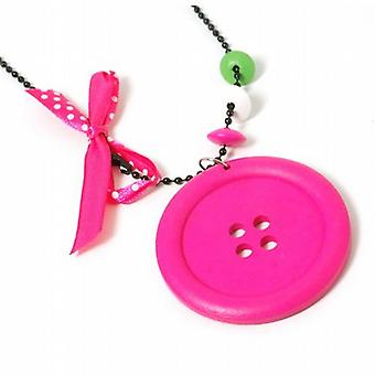 The Olivia Collection Girls Large Fuchsia Button Pendant On 26