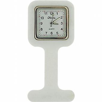 The Olivia Collection White Square Rubber Infection Control Nurses Fob Watch