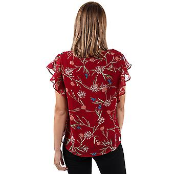 Womens Vero Moda Becca Floral Cap Sleeve Top In Rumba Red