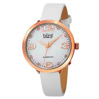 Burgi Classic Women's Quartz Diamond Markers Leather White Strap Watch BUR119WTR